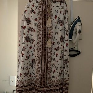 Loose fitting white with floral print maxi skirt